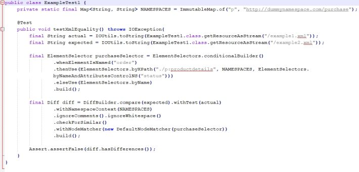 Testing for equality of xml files